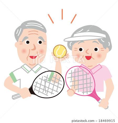 시니어 테니스 활성 건강 미소 - 스톡일러스트 [18469915] - PIXTA