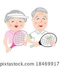 矢量 年長 網球拍 18469917