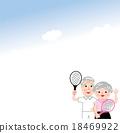 矢量 年長 網球拍 18469922