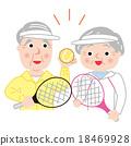 矢量 年长 网球拍 18469928
