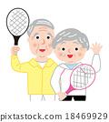 矢量 年长 网球拍 18469929