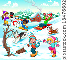 Funny winter scene with children and dogs 18476602