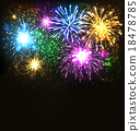 Multicolor Festive Firework Salute Burst on Black 18478785