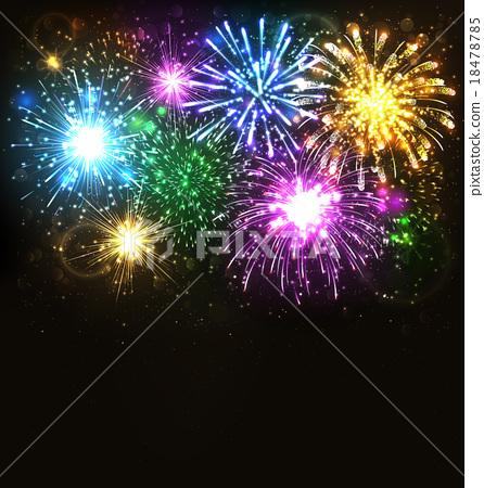 Multicolor Festive Firework Salute Burst on Black 18478785