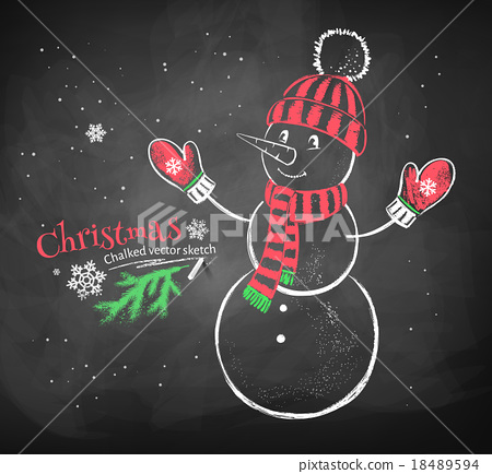 Cute snowman wearing knittted hat. 18489594