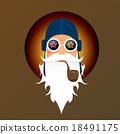 vector biker santa claus with smoking pipe. 18491175