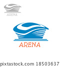 Sport stadium or arena abstract blue icon 18503637