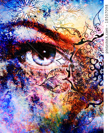 Blue goddess women eye, multicolor background with 18507098