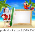 Santa tropical beach sign 18507357