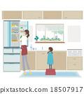 廚房 父母和小孩 親子 18507917