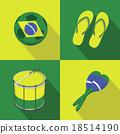 Brazil Soccer football icons flat style 18514190