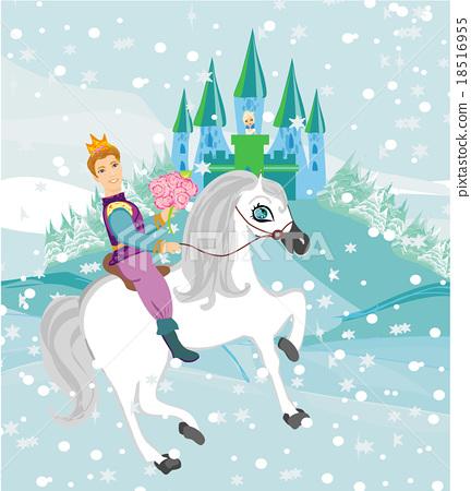 Prince riding a horse to the princess  18516955