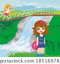 girls are playing nearby waterfall 18516978