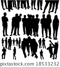 crowded people silhouette vector 18533232