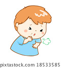 coughing boy cartoon vector illustration 18533585