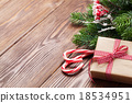 Candy cane, gift box and christmas tree  18534951