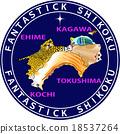 지도 동물 환상적인 시코쿠 18537264