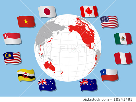 Map of TPP (Pacific Rim Partnership Agreement) map and country flag of participating countries Illustration 18541493