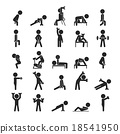 Set of dumbbell exercises character 18541950