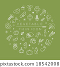 Vegetables and fruits thin icons 18542008