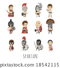 Set of spartan soldier costume characters 18542115