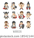 Set of warrior costume characters 18542144