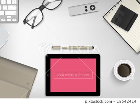Stock Illustration: office desk ,working on white table