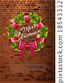 Christmas wreath on brick wall 18543312