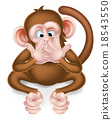 monkey, cartoon, listening 18543550
