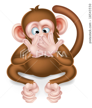 Speak No Evil Cartoon Wise Monkey 18543550