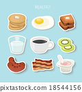 fresh food and drinks flat icons background 18544156