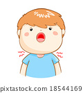 ill boy sore throat cartoon vector 18544169