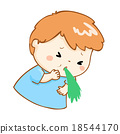 ill boy vomiting cartoon vector 18544170