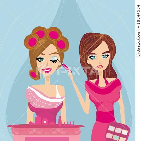 professional make-up artist applying eyeshadow 18544634