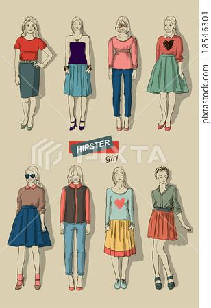 vector illustration of fashion girls hipsters set 18546301