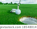 Golf ball on grass 18548014
