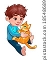 Young boy with cat 18548689