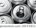 Soda cans with one opened 18555831