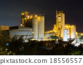 coal power station and cement plant at night 18556557