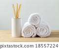 Scented woods and white towel for spa 18557224