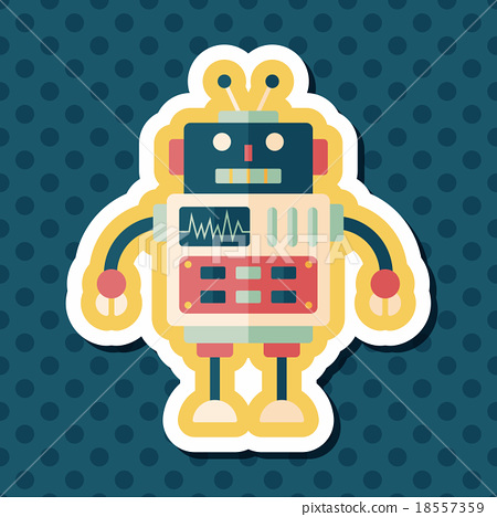 robot concept flat icon with long shadow,eps10 18557359