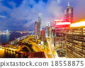 Office building in Hong Kong at night 18558875