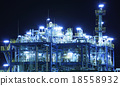 Oil and gas refinery at night 18558932