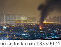 Fire accident with strong smoke 18559024