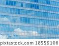 Blue clean glass wall of modern skyscraper 18559106