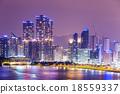 Busan, South Korea skyline at Haeundae District 18559337