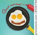 smiling face make with frying eggs and bacon 18566790