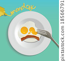 Vector Fried Egg isolated on white plate 18566791