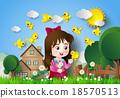 Cute girl sitting in a flower garden. 18570513