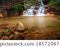 Long exposure waterfall with rocks 18572067